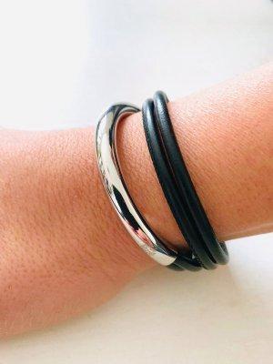 Leder Armband - qudo Doppio Small - silber