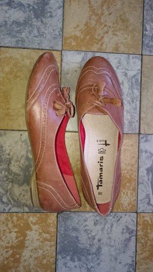 Leder Ballerinas von Tamaris in braun /cognac