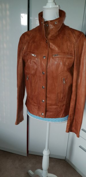 Best Connections Leather Jacket cognac-coloured