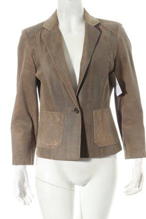 Leder-Blazer graubraun-beige minimalistischer Stil