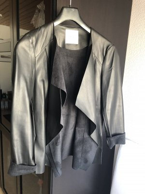 Mango Leather Blazer black