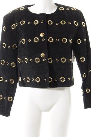 Leder-Blazer schwarz-goldfarben Casual-Look