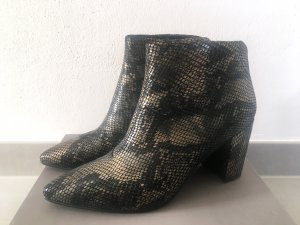 Leder Boots in Snake Metallic Optik