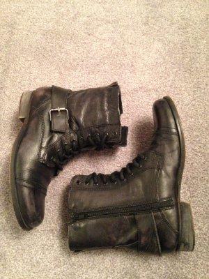 Leder-Boots von Blink im Army/Biker-Look schwarz Gr. 37/38