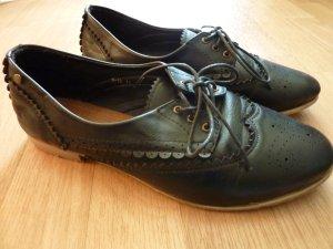 Leder Brogues Schnürer Halbschuhe 40 flache Schuhe Slipper