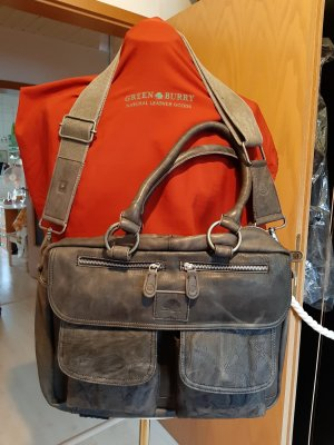 Green Burry Briefcase grey leather