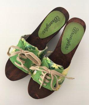 Wrangler Plateauzool sandalen groen-geel Leer