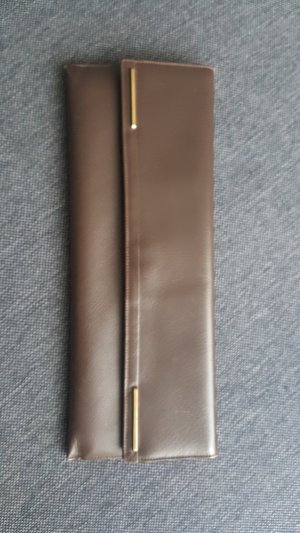 Clutch taupe-sand brown leather