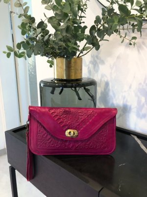 Leder Clutch in Fuchsia