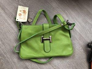 Leder-Clutch neu grün, kleine Handtasche