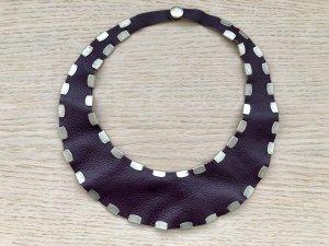 Collar estilo collier púrpura-color plata