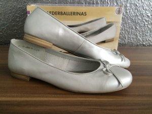 Leder Echtleder Ballerina Schuhe Silber Gr.39 NEU