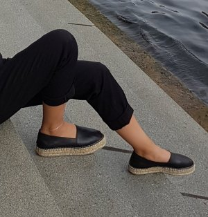Another A Espadrille Sandals black leather