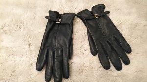Leder-Fingerhandschuhe dunkelblau
