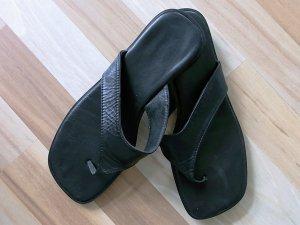 Leder-Flipflops, Größe 37, schwarz