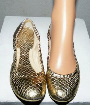 Leder Gold Ballerina neuwertig