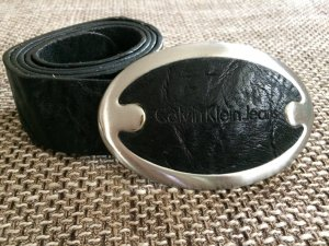 Calvin Klein Jeans Belt black-silver-colored leather