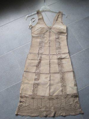 Hallhuber Leren jurk beige Leer