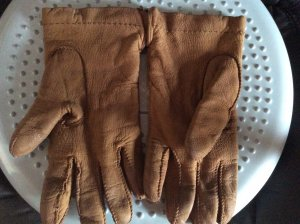Leather Gloves bronze-colored leather