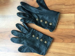 Leather Gloves black-taupe leather
