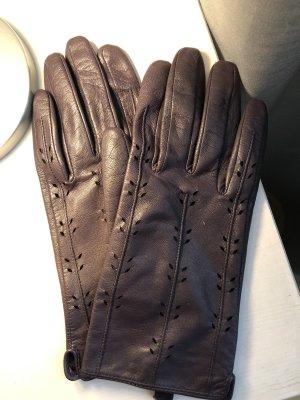 More & More Leren handschoenen donkerpaars