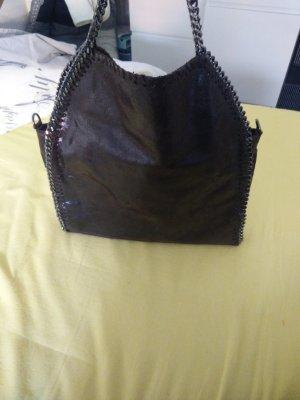Leder Handtasche in dunkelbraun