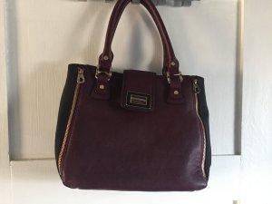 Leder Handtasche in dunkelrot