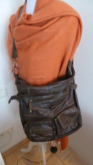 Leder Handtasche in Dunkler Braun