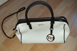 Leder Handtasche Tosca blu - schwarz weiß gold - 28x30 cm - wie neu!