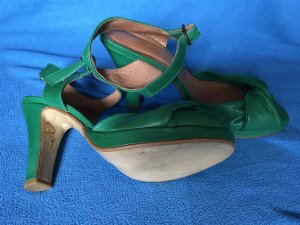 High-Heeled Sandals forest green leather