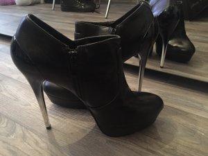 Leder high heels Stiefeletten
