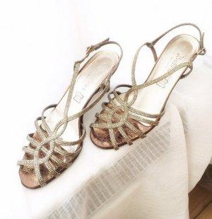 Leder Hochzeitsschuhe Hochzeit Riemchen Sandaletten Gold Sandalen high heels Italien Trauung 39