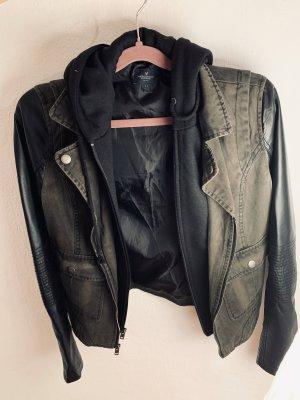American Eagle Outfitters Giacca da motociclista nero-verde scuro