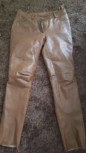 Best Connections Leather Trousers cognac-coloured