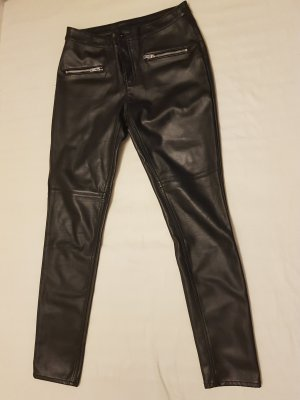 H&M Divided Leather Trousers black polyester