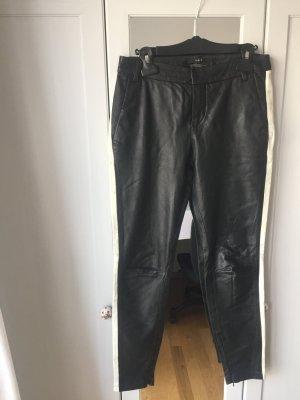 Leder Hose von SET, schwarz-weiß, boyfriend- schnitt, S