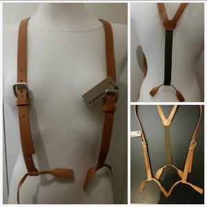 Suspenders nude-dark green leather