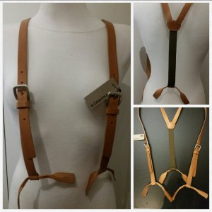Suspenders nude-dark green leather