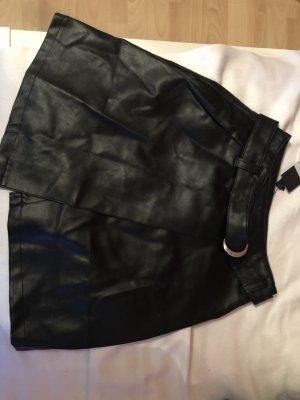 Lost Ink Falda de cuero de imitación negro