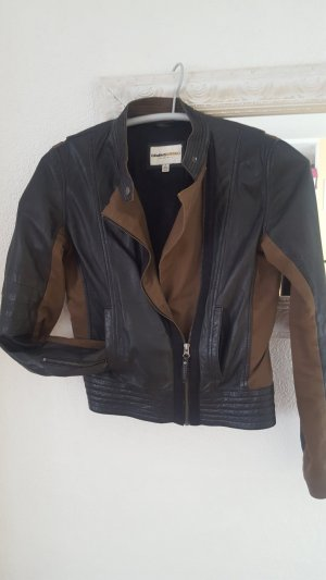 Clements Ribeiro Leather Jacket taupe-grey brown leather