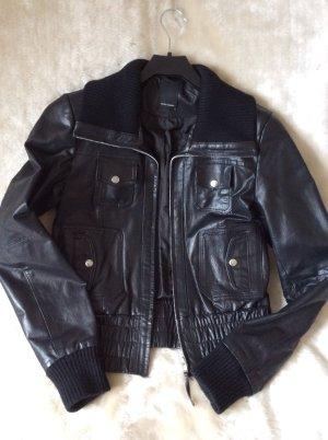 Leder-Jacke im Biker-Stil, schwarz