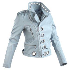 Leder Jacke in gr 40 Hell Blau Kreise Nieten Neu mit Etikett