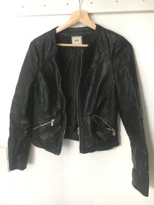 Leder Jacke in Schwarz