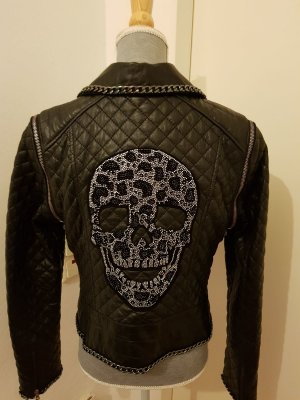 Leder Jacke mit Steinapplikationen, Größen S und M verfügbar