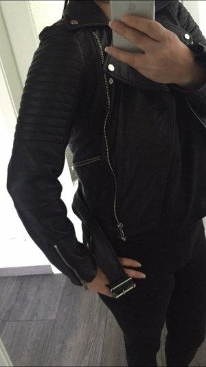 Leder jacke schwarz gr.36