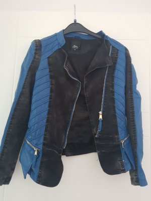 Ann Christine Veste en cuir synthétique noir-bleu