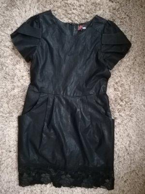 Yumi Leren jurk zwart