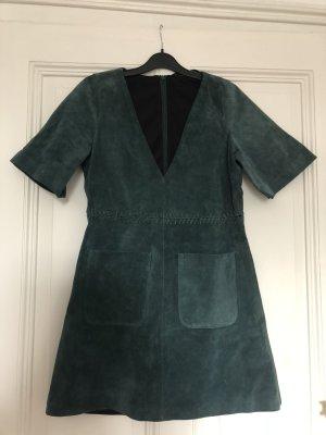 Leder kleid mini v ausschnitt