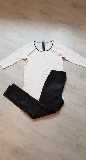 H&M Pantalón de cuero negro-beige claro
