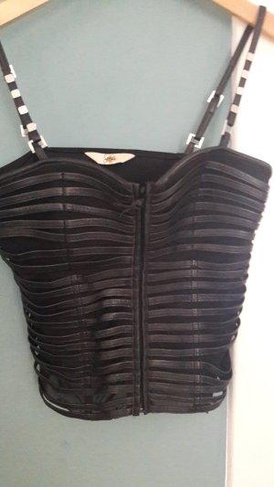 Sagaie Bustier Top black leather